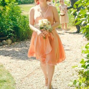 Peach Silk Anthropologie BHLDN by Quilaree dress